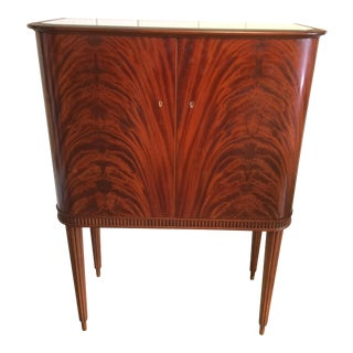 Art Deco Flame Mahogany Dry Bar