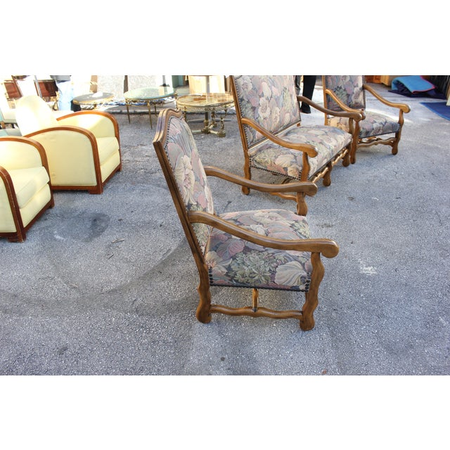 Solid Walnut Louis XIII Style Os De Mouton 2 Armchairs 1 settees Circa 1900s - Set of 3 - Image 9 of 11