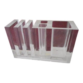Modern Lucite Pencil Letter Holder