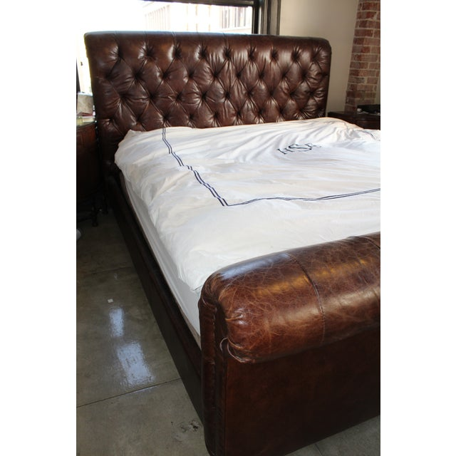 Restoration Hardware Chesterfield Leather Sleigh - Image 2 of 5