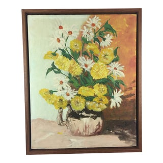 Vintage Oil Painting Yellow Flowers in Vase, Signed