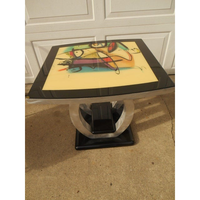 Image of Artist Inspired Aluminum and Acrylic End Table