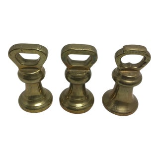 Vintage Brass Scale Weights - Set of 3