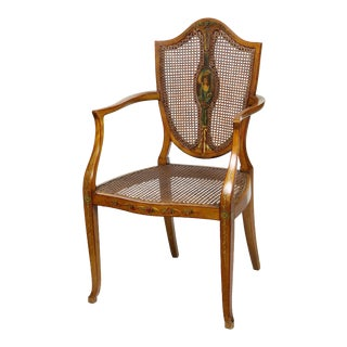 Edwardian Satinwood Shieldback Painted Open Armchair