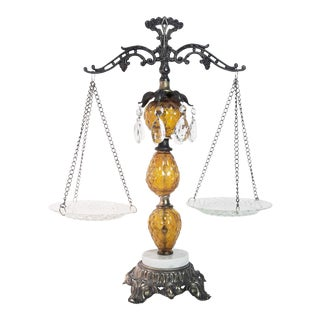 Vintage Amber Glass and Crystal Justice Scale
