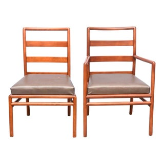 T.H. Robsjohn-Gibbings Ladder Back Chairs Medium Walnut, Set of Eight, USA, 1950