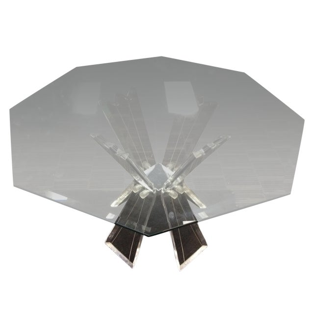 Mid-Century Crystal Lucite Sculptural Dining Table - Image 1 of 6