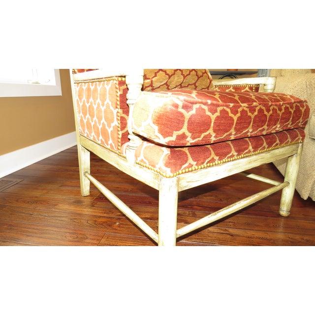Orange quatrefoil living room chair chairish - Orange living room chair ...