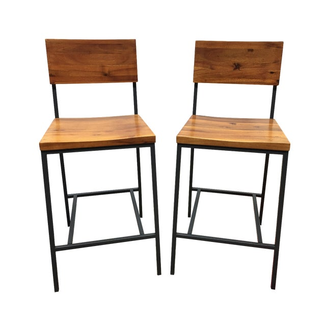 West Elm Rustic Counter Stools - A Pair - Image 1 of 11