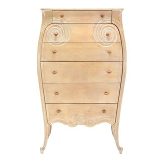 Carved Bombay High Chest Dresser with Bakelite Pulls on High Legs, circa 1930s