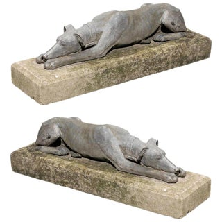 Mid 20th Century English Lead Reclining Greyhounds Dogs on Stone Bases - A Pair
