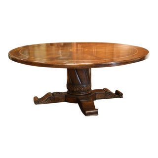 Large Round Geometric Walnut Table With Carved Center Pedestal