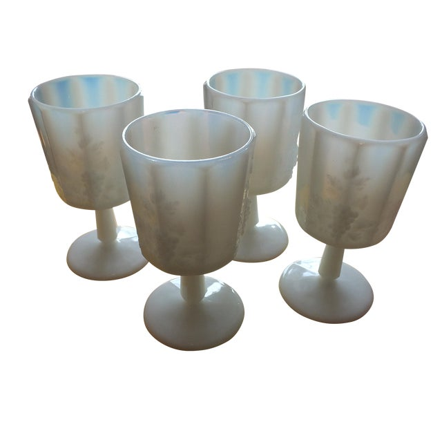 White Opalescent Glass Paneled Grape Goblets - S/4 - Image 1 of 9