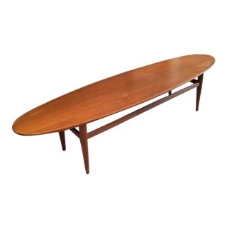 Drexel Heritage Mid Century Modern Walnut Surfboard Table