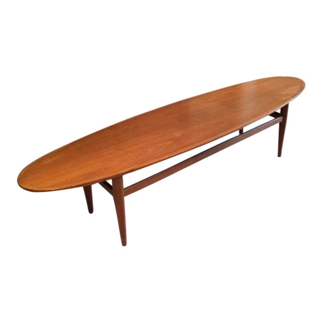 Drexel Heritage Mid Century Modern Walnut Surfboard Table