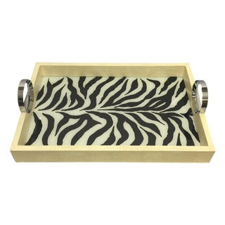 Faux Leather & Zebra Glass Inlay Tray