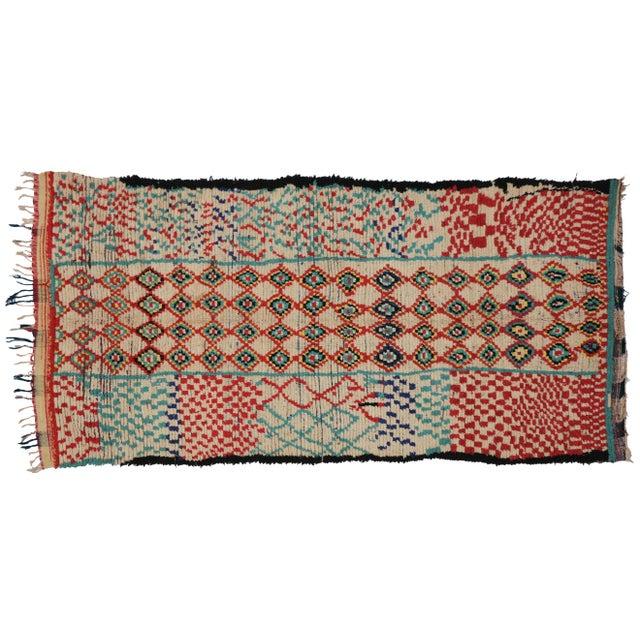 Vintage Moroccan Berber Tribal Motif Rug - 4′4″ × 8′6″ - Image 7 of 7