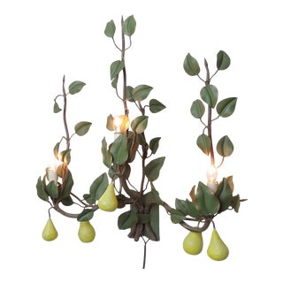 Italian Lighted Tole-Ware Metal Pears Floral Sculptural Wall Art Sconce