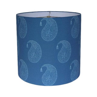 Blue Wood Block Paisley Drum Lamp Shade