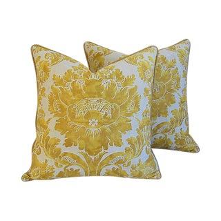 Custom Designer Italian Fortuny Vivaldi Feather/Down Pillows - Pair
