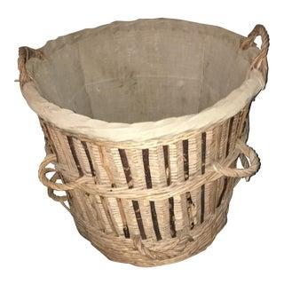 Large Antique French Gathering Basket