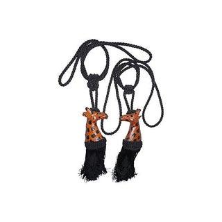 Leather Giraffes Curtain Tiebacks - A Pair