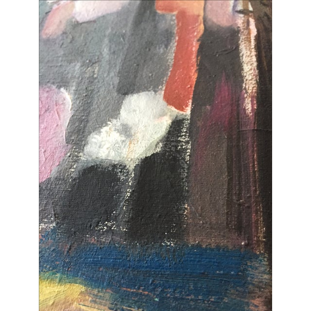 Vintage Modernist Cubist Acrylic Painting - Image 5 of 8