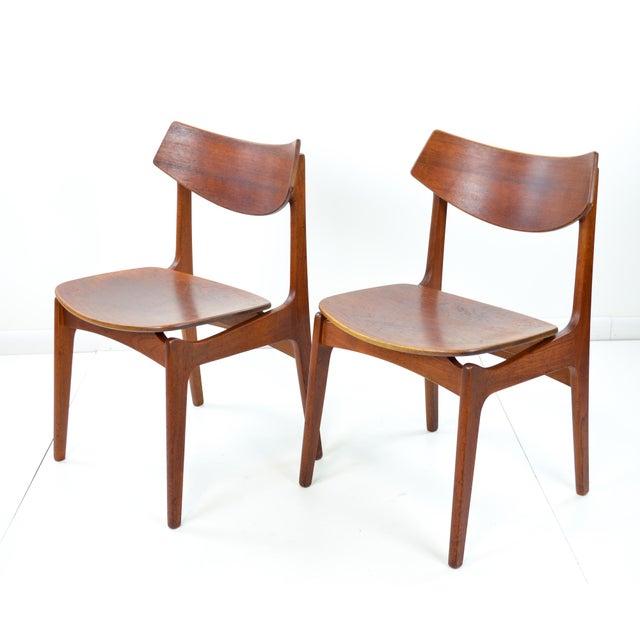 Erik Buck Vintage Danish Modern Teak Dining Chairs - Pair - Image 3 of 9