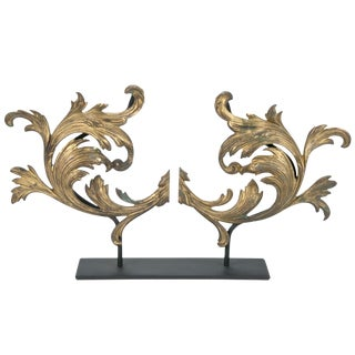Vintage Gilded Brass Leaf Ornament on Stand