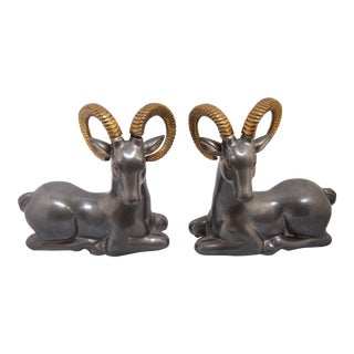 Vintage Recumbent Pewter & Brass Rams - A Pair
