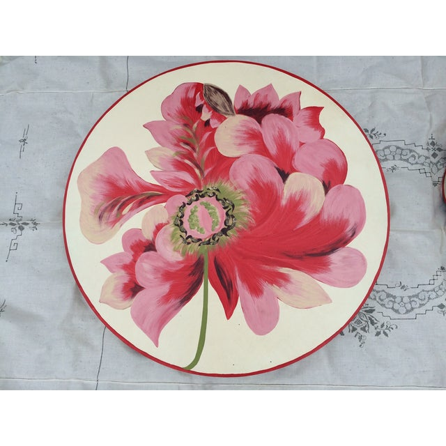 Metal Floral Painted Side Table Covers - A Pair - Image 3 of 10