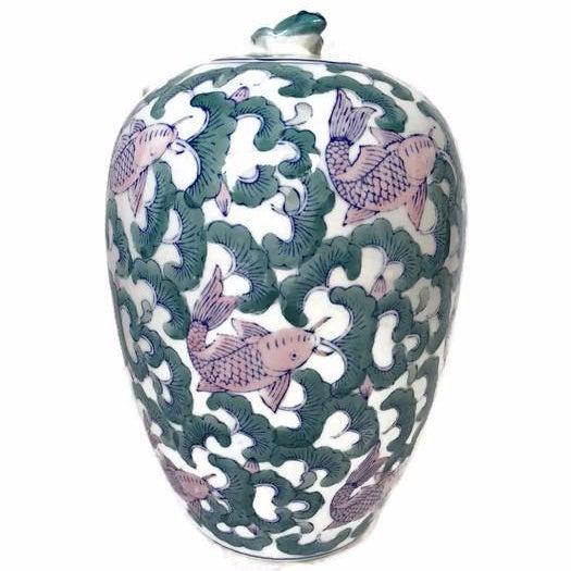 Koi Fish Chinoiserie Ginger Jar Vase - Image 1 of 5