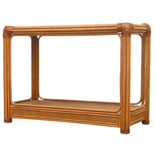 Mid-Century Rattan & Leather Console Table
