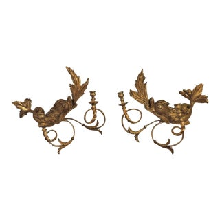 Early 19th C American Dolphin Giltwood Sconces