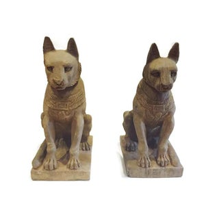 Vintage Egyptian Stone Bastet Cats Garden Statues - a Pair