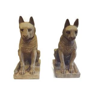Vintage Egyptian Stone Bastet Cats Garden Statues - a Pair