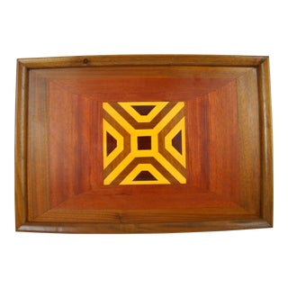 Mid-Century Modern Inlaid Wood Serving Tray