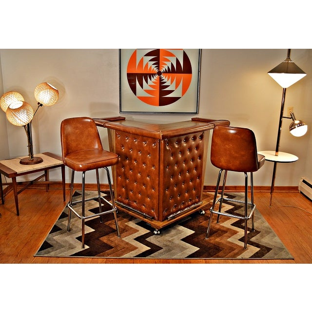 Mid-Century Home Cocktail Bar & Two Stools - Image 6 of 9