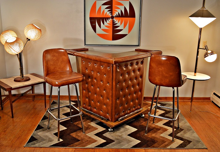 Mid Century Home Cocktail Bar Amp Two Stools Chairish