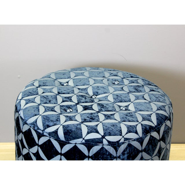 Vintage Blue Upholstered Round Ottomans - A Pair - Image 4 of 5