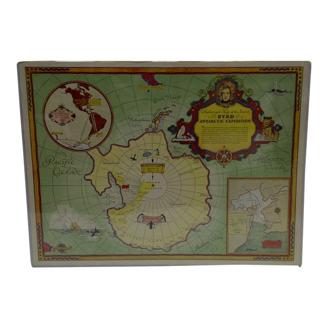 Image of 1934 Authorized Map of Second Byrd Antarctic Expedition General Foods