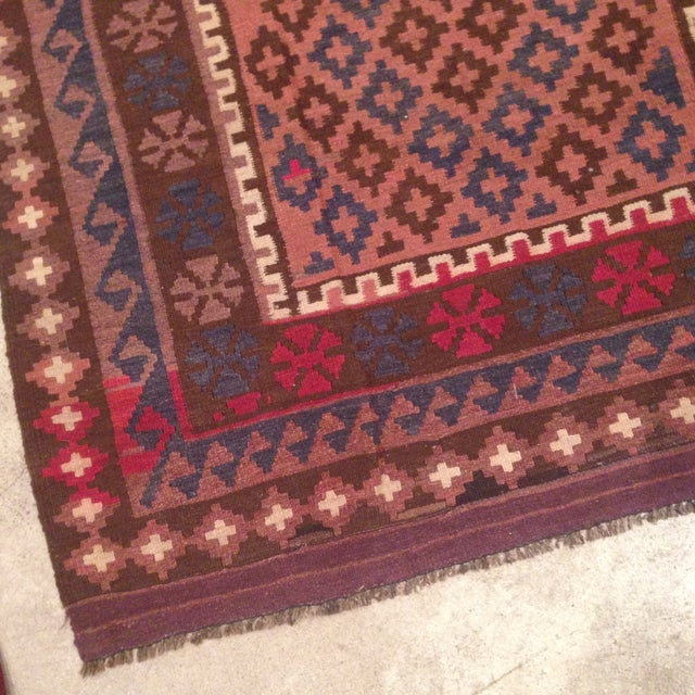 """Turkish Kilim With Hot Pink Pops - 7' X 4'1"""" - Image 3 of 6"""
