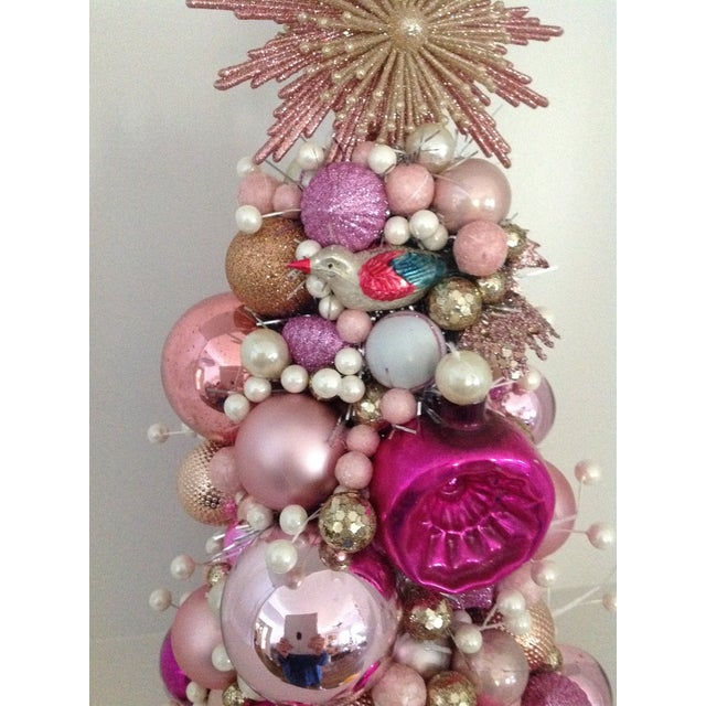 Vintage Pink Pearl Christmas Ornament Topiary Tree - Image 3 of 7