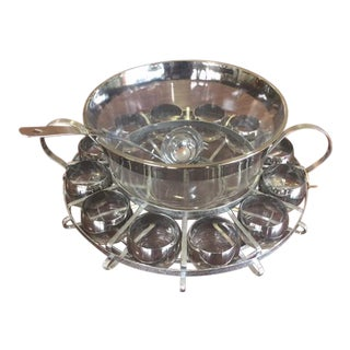 Chrome Trim Punch Bowl & Gasses - Set of 15
