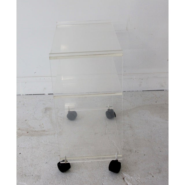 Image of Vintage Lucite Rolling Side Table/Cart