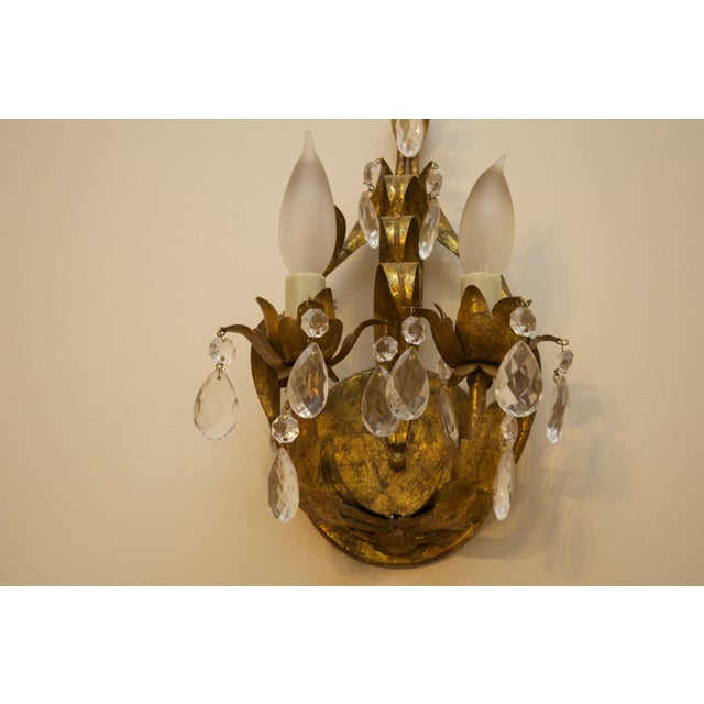 Crystal & Aged Brass Sconces - A Pair - Image 4 of 5