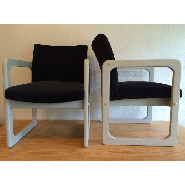 Image of Mid-Century Black Arm Chairs