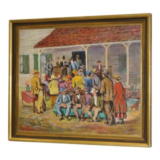 """Circa 1926 Frances Booth """"Country Auction, Conn"""" Oil Painting"""