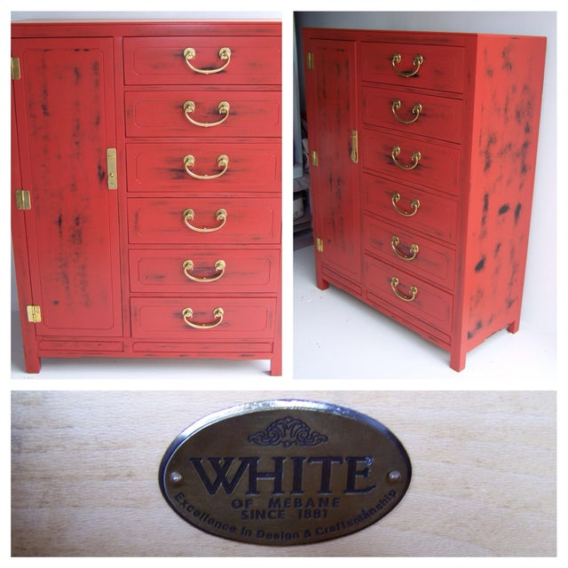 White Furniture Co. 1970 Red Dresser - Image 5 of 5