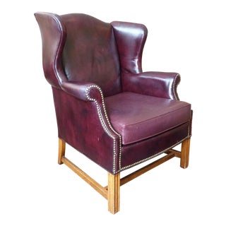 Vintage Sherrill Burgundy Leather Wingback Chair